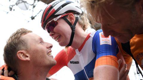 "Anna van der Breggen of the Netherlands celebrates <a href=""http://cnn.com/2016/08/07/sport/rio-olympics-womens-road-race-anna-van-der-breggen/index.html"" target=""_blank"">after winning the women's road race.</a> Her teammate Annemiek van Vleuten was hospitalized after crashing while in the lead."