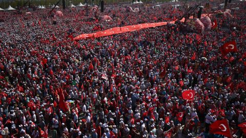The parade ground in Turkey's largest city, built to hold more than a million people, was a sea of red.