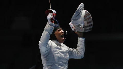 "U.S. fencer Ibtihaj Muhammad celebrates after defeating Ukraine's Olena Kravatska in the individual sabre competition on Monday, August 8. Muhammad is the <a href=""http://www.cnn.com/2016/08/08/sport/ibtihaj-muhammad-individual-sabre-fencing-2016-rio-olympics/index.html"" target=""_blank"">first U.S. Olympian to compete in hijab</a>."