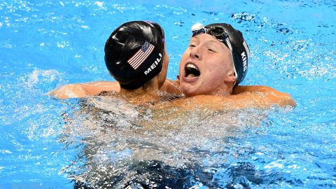 """Lilly King, right, celebrates with American teammate Katie Meili after winning the 100-meter breaststroke on Monday, August 8. Leading up to the final, King <a href=""""http://www.cnn.com/2016/08/08/sport/rio-olympics-russia-booed-lilly-king-yuliya-efimov/"""" target=""""_blank"""">had called out Russian rival Yulia Efimova,</a> who faced two bans for performance-enhancing drugs before eventually being allowed to swim in Rio de Janeiro. Efimova finished in second place. Meili got the bronze."""