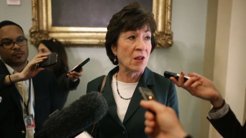 Sen. Susan Collins talks with reporters before heading into the GOP policy luncheons at the U.S. Capitol February 3, 2015 in Washington, DC.