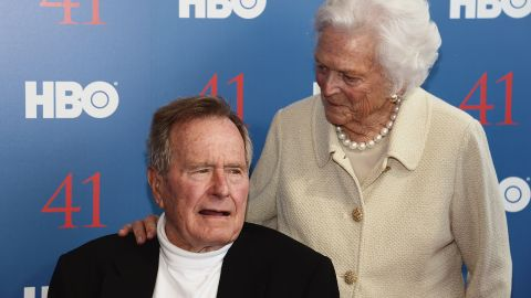 """President George H.W. Bush and his wife, Mrs. Barbara Bush attend the HBO Documentary special screening of """"41"""" on June 12, 2012 in Kennebunkport, Maine."""
