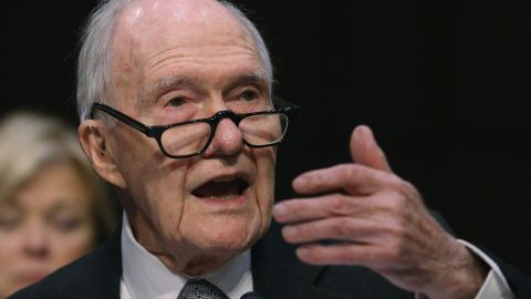 Former National Security Advisor Brent Scowcroft testifies during a Senate Armed Services Committee hearing on Capitol Hill, January 21, 2015 in Washington, DC.