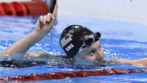 """U.S. swimmer Lilly King reacts after winning the 100-meter breaststroke semifinal on Sunday, August 7. King beat Russia's Yulia Efimova in both their semifinal and final faceoff after what had been billed as an <a href=""""http://edition.cnn.com/2016/08/08/sport/lilly-king-yulia-efimova-swimming/"""" target=""""_blank"""">Olympic grudge race</a>."""