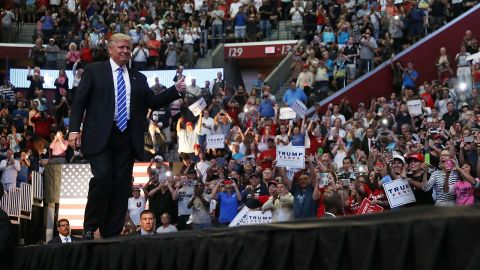 Donald Trump arrives on stage to speak during his campaign event at the BB&T Center on August 10, 2016 in Fort Lauderdale, Florida.