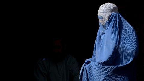 A burqa-clad Afghan woman.
