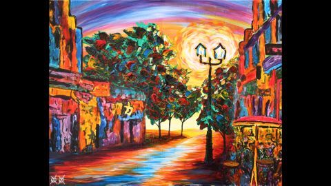 """""""Cafe View"""": """"I love to walk down old city streets as music plays and reverberates along the cobbled streets and stone walls. It could be New Orleans, Amsterdam or a dozen other places, but when the music starts, the color just seems to drip from the walls and color the air all around you. It is hard to forget a walk like that."""""""
