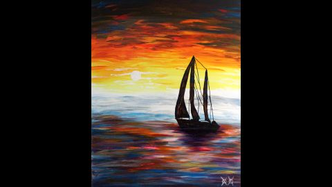"""""""Cast Off"""": """"Sailboats are a theme I come back to time and again. I love the symbolism of freedom they represent. In this piece, the sky and water are actually the colors that I heard while listening to some music performed by Galactic, an amazing New Orleans jazz band."""""""