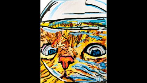 """""""Cat and Fish Bowl"""": """"I love to have fun with my art and love to paint all kinds of animals; often, these two interests meet up in a painting of mine. Is the cat hungry or just curious? I don't know that, but I do know that the model's name is Red. That's the cat, by the way. ... if the fish had a name, he kept it to himself."""""""