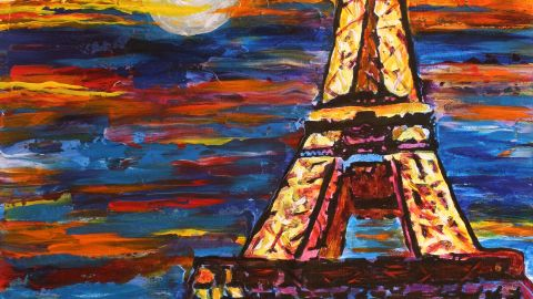 """""""Paris at Night"""": """"Night is a magical time for me. Music and the sounds of people are intensified, and for me, that means more color. While night for some may darken their mood, for me, I think it is a time when emotions and feelings can also run their highest."""""""