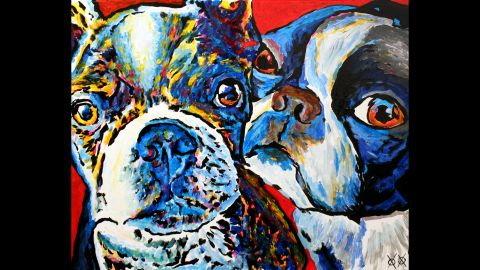 """""""Zimmie and Zoey"""": """"Most of my paintings are of real people and animals that I am lucky enough to meet. My having to touch to 'see' what someone/thing looks like is especially fun when I get to work with a pair like these two pups!"""""""