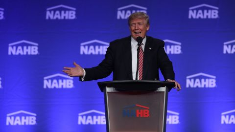 MIAMI BEACH, FL - AUGUST 11:  Republican presidential nominee Donald Trump speaks during an address to the National Association of Home Builders at the Fontainebleau Miami Beach hotel on August 11, 2016 in Miami Beach, Florida. Trump continued to campaign for his run for president of the United States.  (Photo by Joe Raedle/Getty Images)