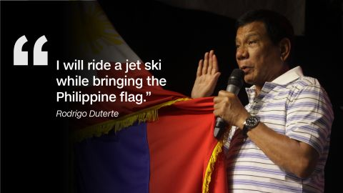During the third and last presidential debate, Duterte had said that he would plant a Philippine flag in disputed territories should China refuse to recognize a favorable ruling for the Philippines.