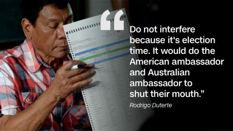 Foreign diplomats weighing in on Rodrigo Duterte's controversial remarks did not sit well with the then-mayor.