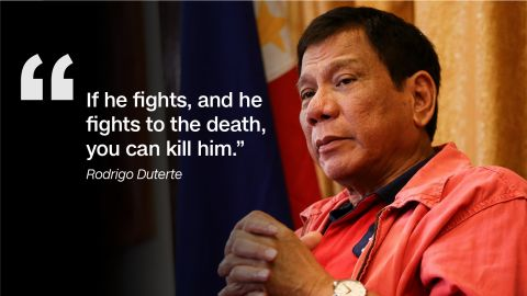 The Philippines president-elect effectively said he supported vigilantism against drug dealers and criminals in a nationally televised speech in June 2016.