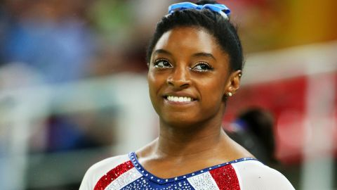 RIO DE JANEIRO, BRAZIL - AUGUST 11:  Simone Biles of the United States looks on during the Women's Individual All Around Final on Day 6 of the 2016 Rio Olympics at Rio Olympic Arena on August 11, 2016 in Rio de Janeiro, Brazil.  (Photo by Alex Livesey/Getty Images)