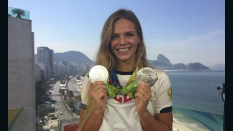 Yulia Efimova displays the silver medals she won at Rio 2016
