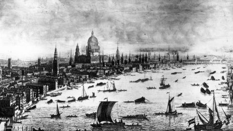Prior to the 20th century, London's St Paul's Cathedral was the architectural focal point of the city. This image from 1616 depicts the South-west prospect of London from Somerset House to the Tower. St Paul's Cathedral is the tallest building for miles around.