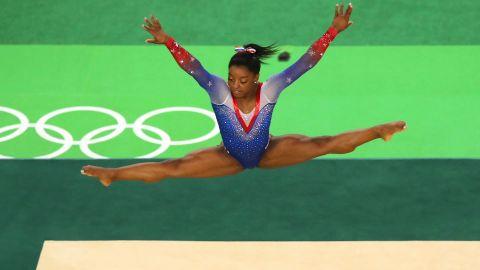Simone Biles on the floor Tuesday
