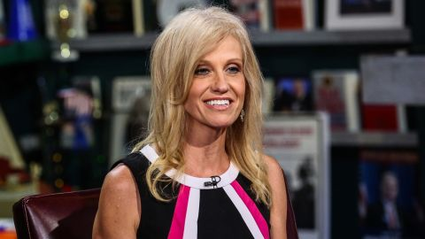 """Kellyanne Conway, president and chief executive officer of Polling Co. Inc./Woman Trend, smiles during an interview on """"With All Due Respect"""" in New York, U.S., on Tuesday, July 5, 2016. Asked how Trump reassures conservatives about his positions on issues such as abortion without losing ground with voters in the center, Republican pollster Conway, one of Trump's new senior strategists, said he would work to shift the spotlight to Clinton."""