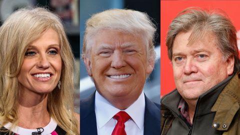 Kellyanne Conway, Donald Trump, Steve Bannon