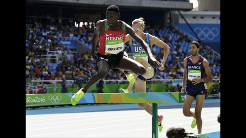 Kenya's Conseslus Kipruto won the 3,000-meter steeplechase. Kenyan men have won every Olympic steeplechase since 1984.