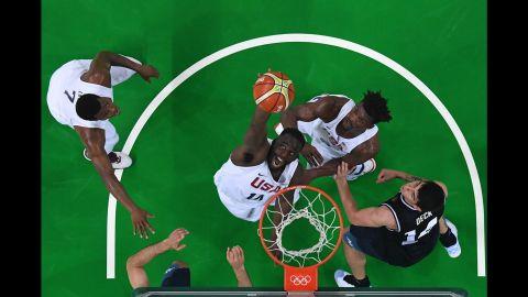 U.S. center DeAndre Jordan grabs a rebound during the quarterfinal game against Argentina. The Americans won 105-78.