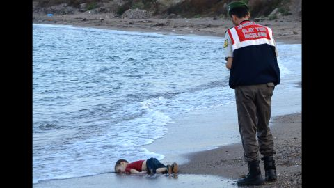 """<strong>2015: Bodrum, Turkey</strong> -- An arresting image of a migrant child's dead body washed up on a Turkish beach <a href=""""http://www.cnn.com/2015/09/02/europe/migration-crisis-boy-washed-ashore-in-turkey/"""" target=""""_blank"""">served as a tragic reminder</a> of the risks faced by Syrian refugees. The photo also became a touchstone for discussions about how Europe and other countries should approach the refugee crisis."""