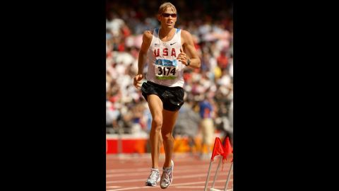 BEIJING - AUGUST 24:  Ryan Hall of the United States competes in the Men's Marathon held at the National Stadium during Day 16 of the Beijing 2008 Olympic Games on August 24, 2008 in Beijing, China.  (Photo by Mark Dadswell/Getty Images)
