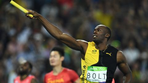 Jamaica's Usain Bolt celebrates his team's victory at the end of the Men's 4x100m relay final in Rio.