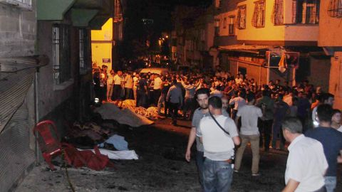 People gather after an explosion in Gaziantep in southeastern Turkey.