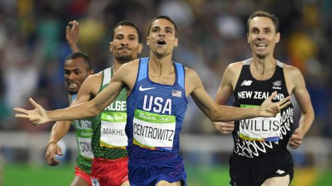 America's Matt Centrowitz, center, reacts after winning the men's 1,500-meter final followed by silver medallist Taoufik Makhloufi of Algeria, left, and bronze medallist Nick Willis of New Zealand, right. This is the first gold medal for the United States in the event since 1908.