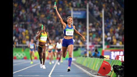 American runner Allyson Felix celebrates as she crosses the finish line to win the women's 4x400-meter relay final on Saturday, August 20. The win gives Felix her 6th career gold.