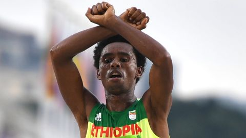 Ethiopia's Feyisa Lilesa crossed his arms above his head at the finish line of the Men's Marathon event as a protest against the Ethiopian government's crackdown on political dissent on August 21.