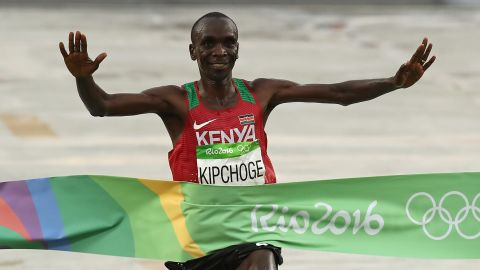 Eliud Kipchoge of Kenya takes gold in the men's marathon on the final day of the Rio Olympics.