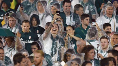 Members of the Australian delegation take a selfie.