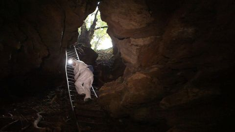 Two researchers carefully descend into Grootboom cave, located just miles away from the densely populated city of Johannesburg in South Africa.
