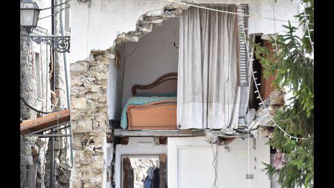 The quake left this house in ruins in Arquata del Tronto.