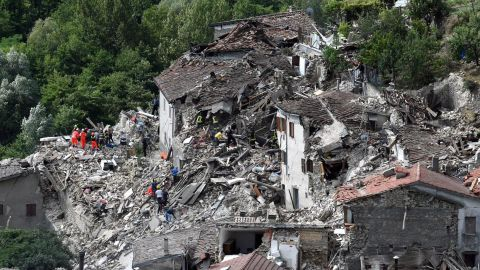 Collapsed and damaged houses in Pescara del Tronto.