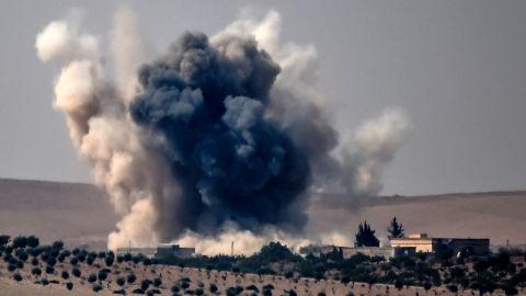 Smoke billows after a Turkish airstrike Wednesday on Jarablus, Syria.