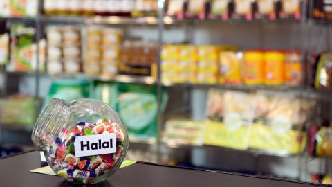 Halal sweets are displayed at a trade fair in Paris.