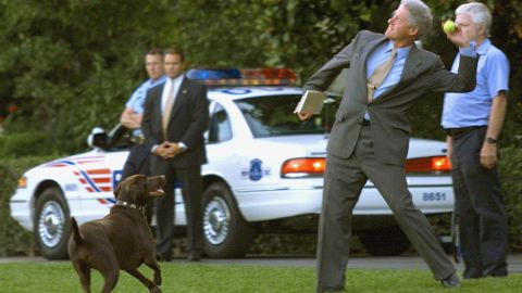 President Bill Clinton tosses a tennis ball for his dog, Buddy, at the White House on July 14, 1999.