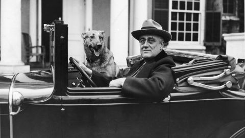 Roosevelt sits behind the wheel of his car outside of his home in Hyde Park, New York, with his German shepherd, Major, in the mid-1930s.