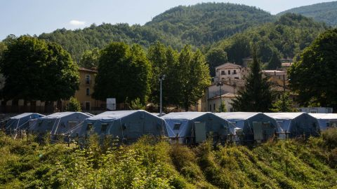 A view of the tent camp set up by the Civil Protection Agency in the Abruzzo region as temporary housing for displaced residents from the mountain commune of Accumoli.