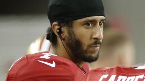 San Francisco 49ers quarterbacks Colin Kaepernick, left, and Blaine Gabbert stand on the sideline during the second half of an NFL preseason football game against the Green Bay Packers on Friday, Aug. 26, 2016, in Santa Clara, Calif. Green Bay won 21-10. (AP Photo/Tony Avelar)