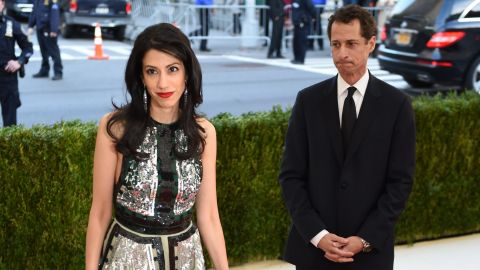 Anthony Weiner and Huma Abedin  arrive at the Costume Institute Benefit at The Metropolitan Museum of Art May 2, 2016 in New York.