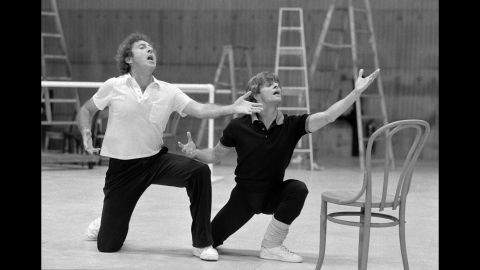 Wilder rehearses with dancer Mikhail Baryshnikov for a CBS special in 1981.