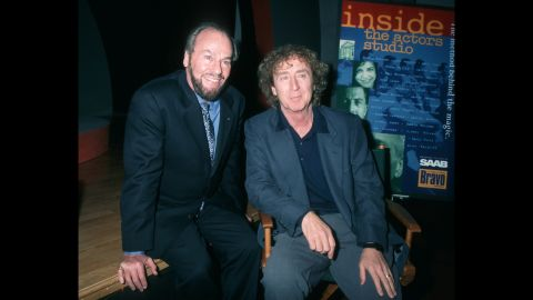 """James Lipton sits with Wilder during a taping of the show """"Inside the Actor's Studio"""" in 1996."""