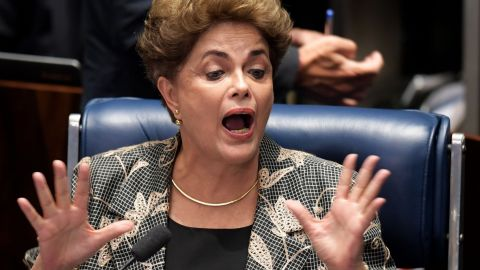 Rousseff gestures during her testimony during her impeachment trial at the National Congress in Brasilia on August 29, 2016.