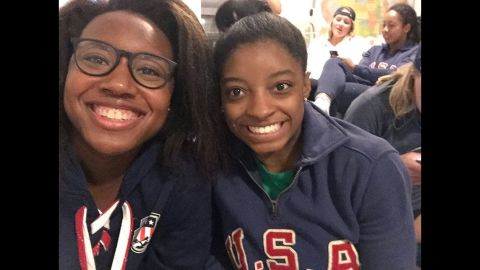 """U.S. Olympians Simone Manuel, left, and Simone Biles take a selfie together on Friday, August 12. """"Simone x2,"""" <a href=""""https://twitter.com/Simone_Biles/status/764153195048398849"""" target=""""_blank"""" target=""""_blank"""">Biles tweeted,</a> along with a gold-medal emoji. A day earlier, Manuel won the 100-meter freestyle, <a href=""""http://edition.cnn.com/2016/08/11/sport/rio-olympics-day-6-preview/"""" target=""""_blank"""">becoming the first African-American woman to win an individual gold in an Olympic swimming event.</a> Biles dominated in gymnastics, winning gold in both the team and <a href=""""http://edition.cnn.com/2016/08/11/sport/simone-biles-usa-gymnastics-rio/"""" target=""""_blank"""">individual all-around.</a>"""